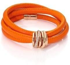 Allegra Diamond, 18K Rose Gold & Leather Wrap Bracelet/Orange