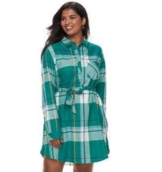 So Juniors' Plus Size SO Plaid Shirt Dress