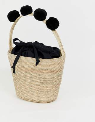 French Connection Alani palm leaf basket bag