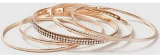 Dorothy Perkins Womens Rose Gold Look Rhinestone Bangle Pack