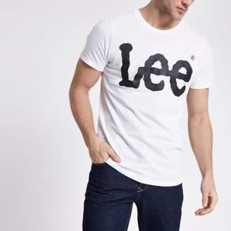 River Island Lee white logo print crew neck T-shirt