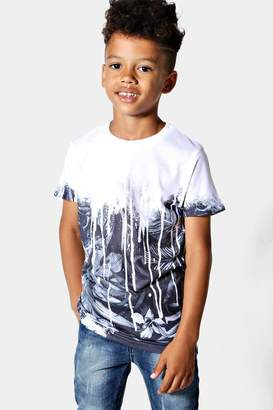 boohoo Boys Faded Palm Print Sublimation Tee