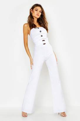 boohoo Button Down Bralet & Belted Trouser Co-Ord