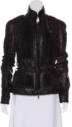 Just Cavalli Leather Zip-Up Jacket