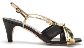 Gucci Dafne Metallic Bow Leather Sandals - Womens - Black Gold