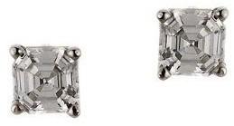 Diamonique 0.75 ct tw Asscher Stud Earrings, 14K Gold