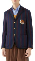 Gucci Tiger Patch Stripe Cotton Jacket