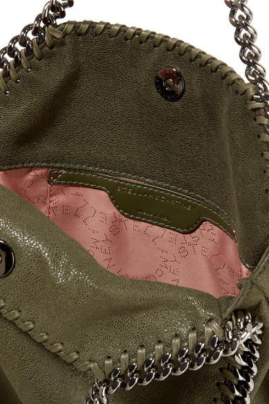 Stella McCartney - Falabella Mini Faux Brushed-leather Shoulder Bag - Army  green detail image f74db04350f26