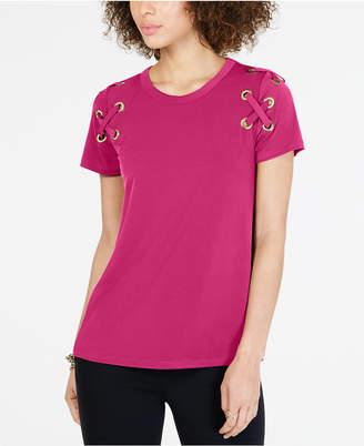 Michael Kors Lace-Up T-Shirt, in Regular & Petite Sizes