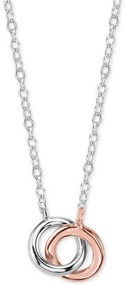 Unwritten Two-Tone Interlocked Circle Pendant Necklace in Sterling Silver