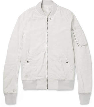 Rick Owens Blistered-suede Bomber Jacket - White