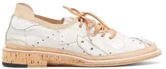 Peterson Stoop - Straight Recycled Low Top Leather Trainers - Womens - Tan White