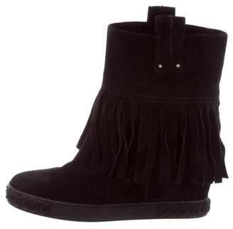 Casadei Fringe Wedge Boots