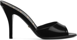 Gucci peep toe heeled slides