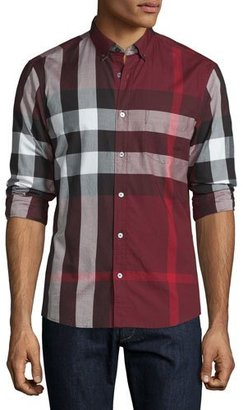 Burberry Exploded Check Long-Sleeve Sport Shirt, Claret $295 thestylecure.com