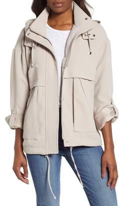 Kensie Crepe Blouson Hooded Jacket