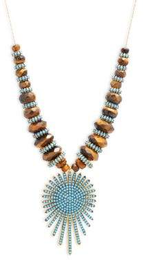 Azaara22K Yellow Goldplated & Sunburst Pendant Necklace