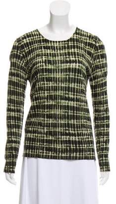 Lela Rose Long Sleeve Abstract-Printed Top