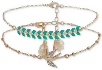 lonna & lilly Gold-Tone 2-Pc. Set Pave, Stone & Tassel Anklets, Created for Macy's