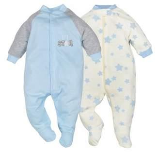 Gerber Newborn Baby Boy Organic Zip Front Sleep 'N Play, 2-pack