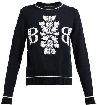 Barrie Thistle League Boucle Intarsia Cashmere Sweater - Womens - Black White