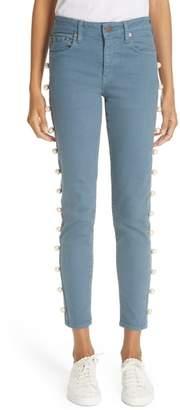Tu es mon Tresor Imitation Pearl Embellished Jeans