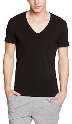 Hom Men's Business Smart Cotton V-Neck T-Shirt Plain Themal Top