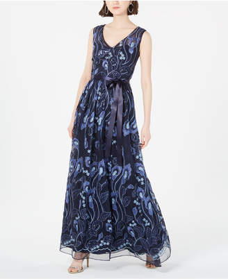 R & M Richards Petite Embroidered Embellished Gown