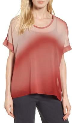 Eileen Fisher Ombre Silk Short Sleeve Top