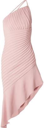 Brandon Maxwell Asymmetric Pleated Stretch-crepe Mini Dress - Pink