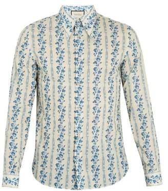 Gucci Floral And Logo Print Cotton Poplin Shirt - Mens - Blue
