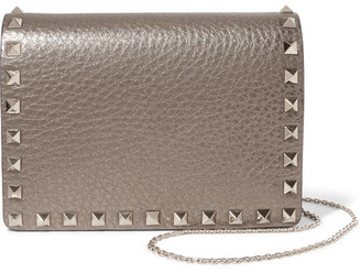 Valentino - The Rockstud Metallic Textured-leather Shoulder Bag - Gold $1,175 thestylecure.com