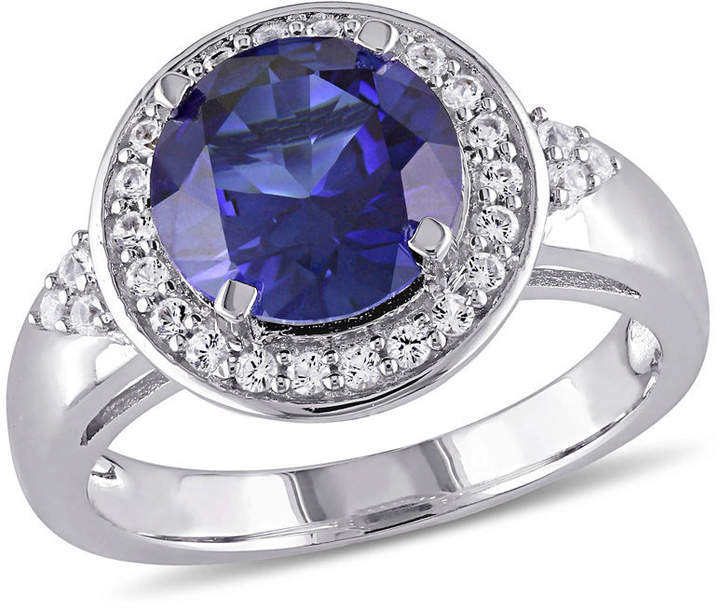 Zales 9.0mm Lab-Created Blue and White Sapphire Frame Tri-Sides Ring in Sterling Silver