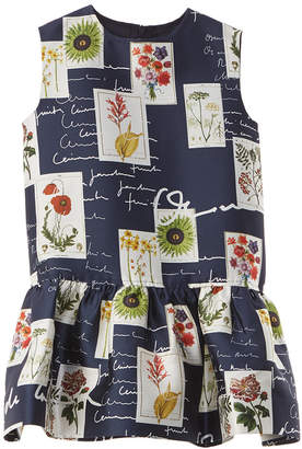 Oscar de la Renta Botanical Flowers & Scribble Silk-Blend Dress