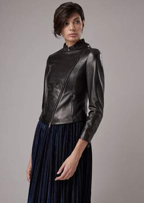 Giorgio Armani Biker Jacket Made Of Plonge Lambskin Nappa Leather