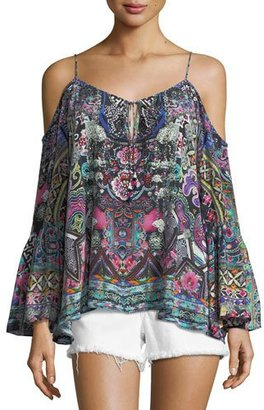 Camilla Embellished Cold-Shoulder Crepe Top, Festival Friends $400 thestylecure.com