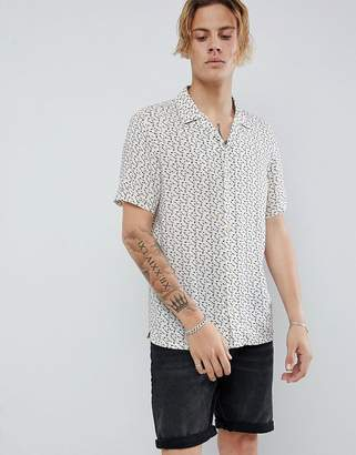 AllSaints short sleeve revere shirt in ecru with note print