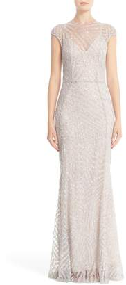 Rachel Gilbert Hand Embellished Cap Sleeve Mermaid Gown