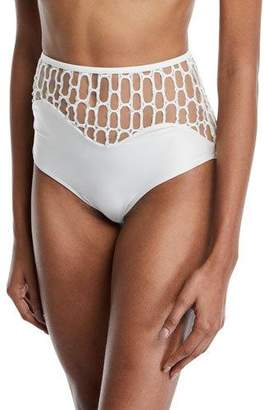 Agua de Coco Atlantica Mesh High-Waist Bikini Swim Bottoms