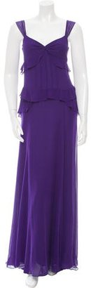 Vera Wang Lavender Label Silk Ruffle-Trimmed Gown $175 thestylecure.com