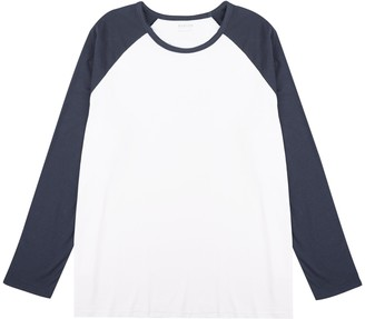 Mens Big & Tall Navy and White Long Sleeve Raglan T-Shirt