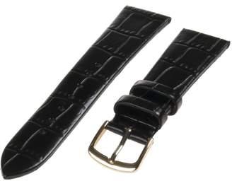 Republic Men's Alligator Grain Leather Watch Band 20mm Regular Length, Black