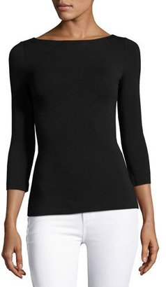 Bailey 44 Cuba Libre Lace-Back Boat-Neck 3/4-Sleeve Top, Black $158 thestylecure.com