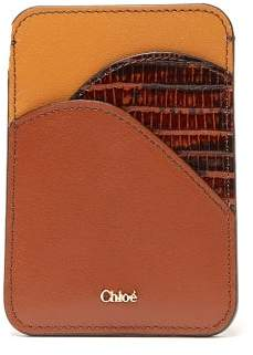 Chloé Walden Crocodile Embossed Leather Cardholder - Womens - Tan Multi