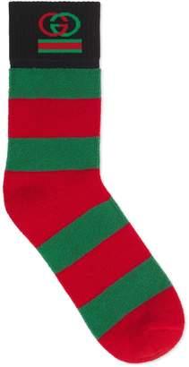 Gucci Striped cotton socks with Interlocking G