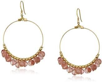 Kenneth Jay Lane Gold Hoop with Quartz Beads Fishhook Hoop Earrings