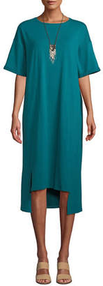 Eileen Fisher Short-Sleeve Stretch Jersey High-Low Dress, Plus Size