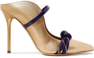 Malone Souliers Farrah 100 Cord-trimmed Metallic Leather Mules - Gold