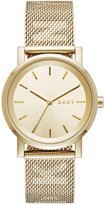 DKNY Women's SoHo Gold-Tone Stainless-Steel Mesh Bracelet Watch 34mm, Created for Macy's