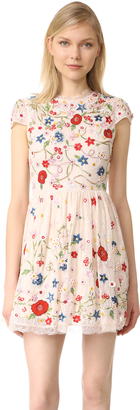 alice + olivia Ariel Embroidered Cap Sleeve Dress $995 thestylecure.com